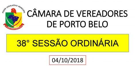 INFORMATIVO CÂMARA DE VEREADORES 38° SESSÃO ORDINÁRIA 2018